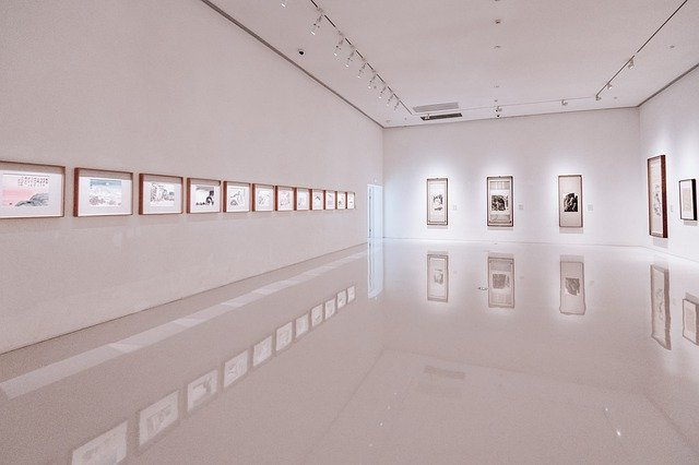 white art gallery with paintings mounted on wall